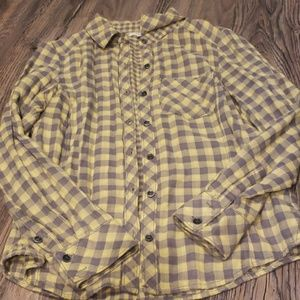 Checkered yellow and grey button up fannel